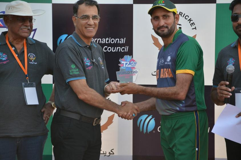 Saudi Arabia's Khawar Abbas was adjudged the man of the match for his spell of 3-20