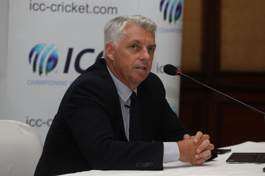 Chief Executive David Richardson addresses a media conference in Kolkata on 26 April following the ICC Board meetings
