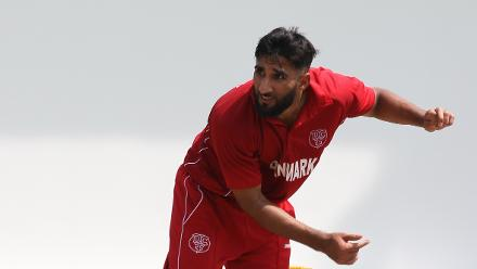 Denmark's Hamid Mazhar Shah in action during his team's WCL Division 4 encounter against Jersey
