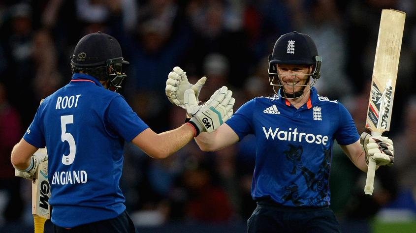 Centuries from Joe Root and Eoin Morgan took England past New Zealand's 349/5