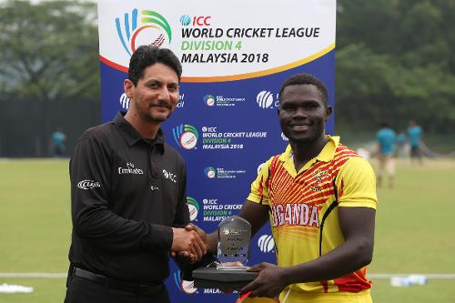 Fred Achelam of Uganda wins the Player of the Match award