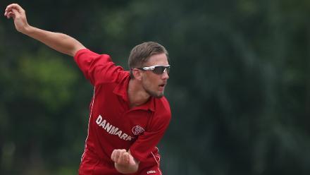 Denmark v Vanuatu: Nicolaj Damgaard Laegsgaard of Denmark bowls