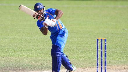 Bermuda v Malaysia: Suhan Kumar of Malaysia plays a shot