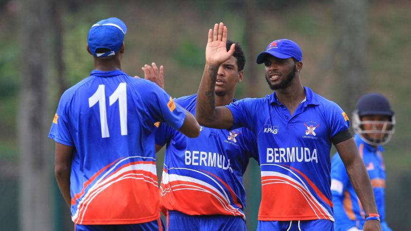 Bermuda v Malaysia: Bermuda players celebrate after dismissing Mohd. Anwar Arudin of Malaysia
