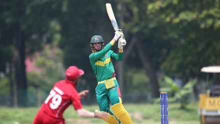 Denmark v Vanuatu: Jonathon Dunn of Vanuatu plays a shot