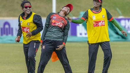 Bangladesh players share a light moment during the training session at Senwes Park in Potchefstroom