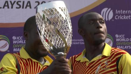 Uganda celebrate winning World Cricket League Division 4