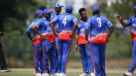 Bermuda players celebrate after getting rid of Virandeep Singh