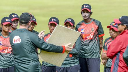 The Bangladesh coach has a word with the side as they gear up for the all-important second ODI