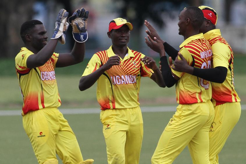 Uganda players celebrates after getting a breakthrough