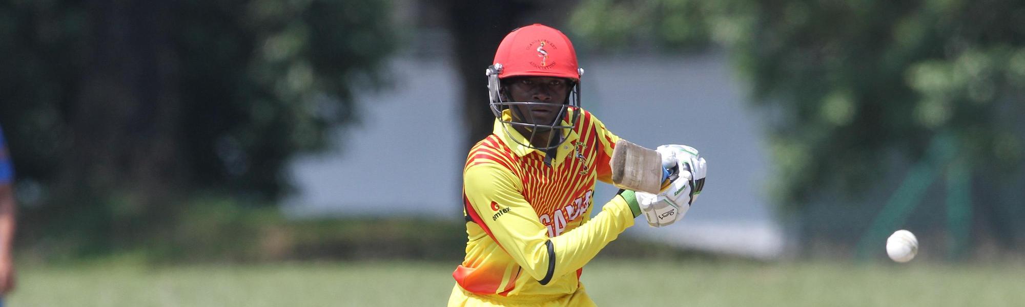 Brian Masaba of Uganda plays a shot
