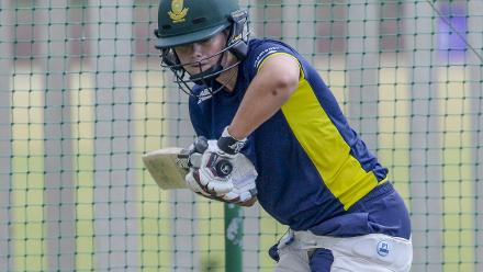 Dane van Niekerk practices ahead of the second ODI