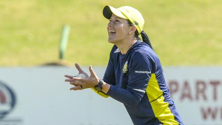 Marizanne Kapp is elated after taking a catch during South Africa's training session