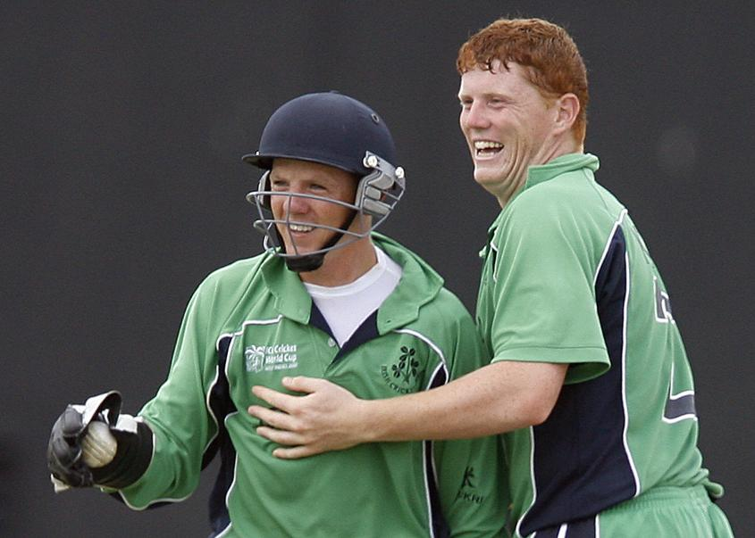 Teaming up to dismiss England's Ian Bell at the 2007 World Cup