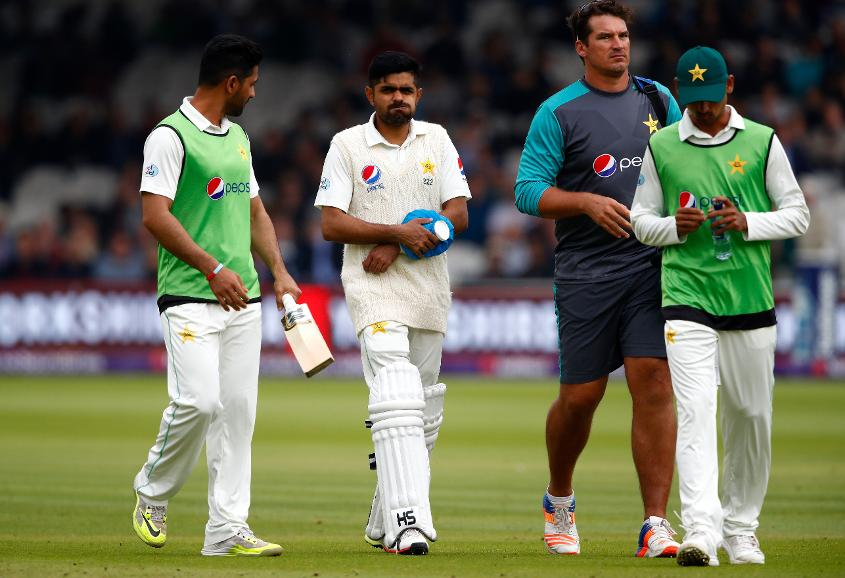 Babar Azam retired hurt during the first Test against England