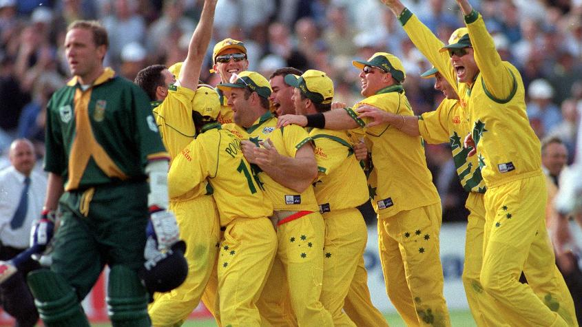 The Australians celebrate after Allan Donald is run out