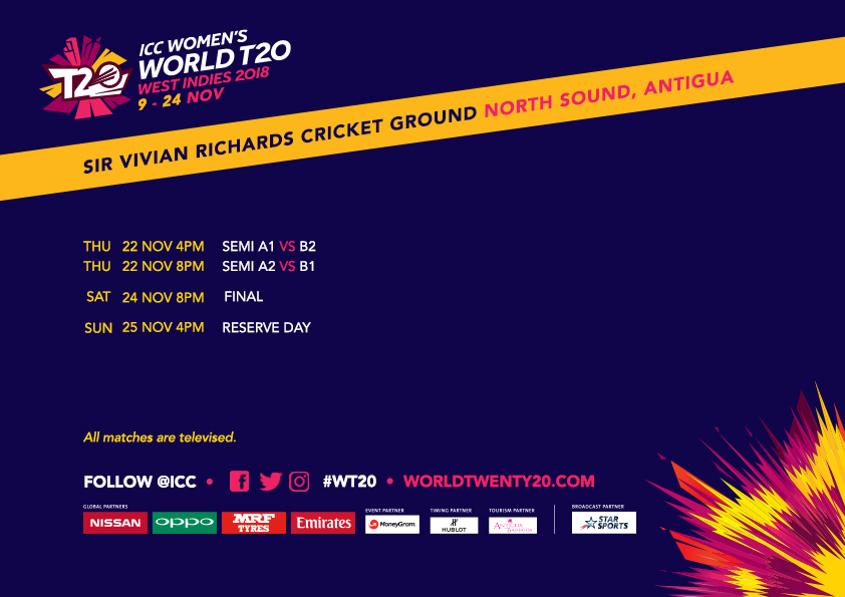 The last three matches of the Women's World T20 2018 will take place at the Sir Vivian Richards Cricket Ground