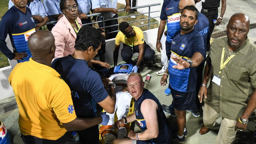 Kusal Perera was rushed to the hospital after suffering a nasty injury at the long on boundary