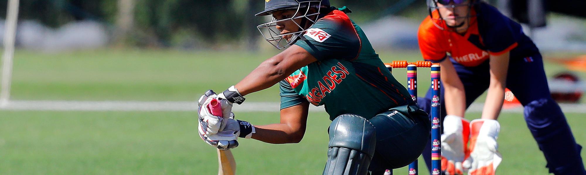 Match 7: Bangladesh Batsman Shamima Sultana plays a shot, Netherlands Women v Bangladesh Women, Group B, ICC Women's World Twenty20 Qualifier at Utrecht, 8th July 2018.