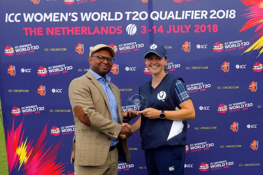 Mr Urlick presenting the Player of the match award to Kathrine Bryce, 9th Match, Group B, ICC Women's World Twenty20 Qualifier at Utrecht, Jul 10th 2018.