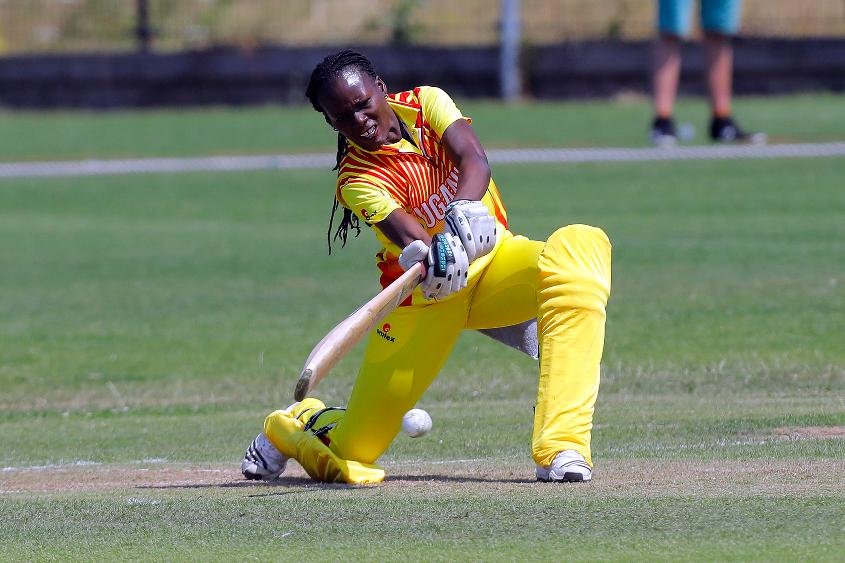 Uganda Batsman G Candiru plays a shot, 1st Play-off Semi-Final, ICC Women's World Twenty20 Qualifier at Utrecht, Jul 12th 2018.