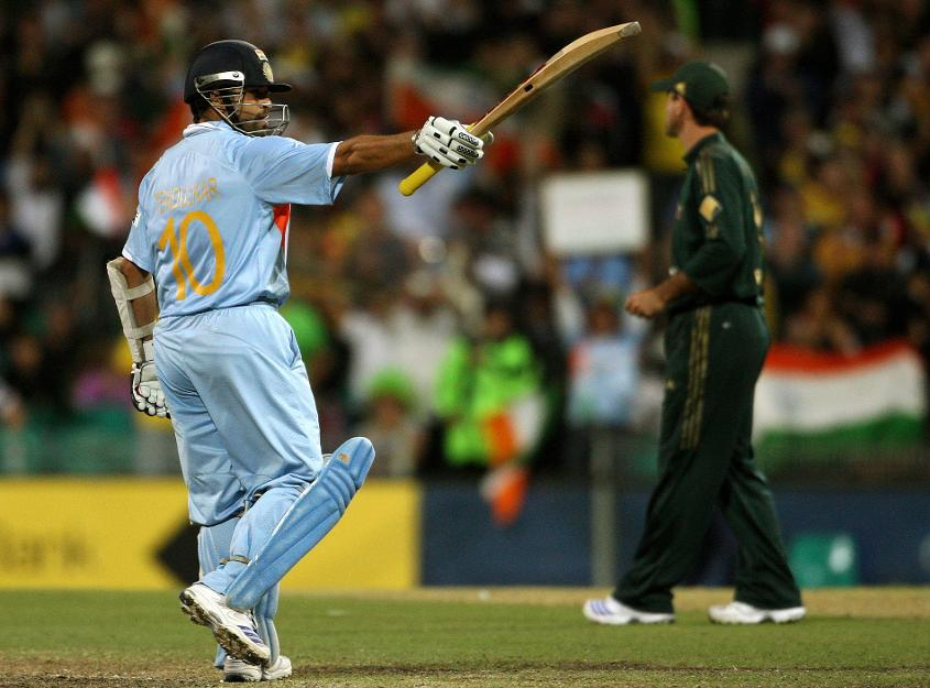 Sachin Tendulkar made a century during the first final of the tri-series, which India won
