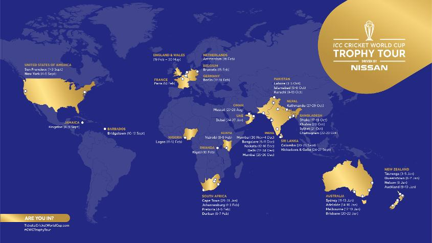 The ICC Trophy Tour World Map