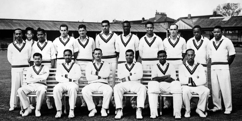 The West Indies team that toured England in 1957. Weekes is seated second from right.