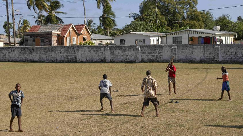 Children play a scratch game at the Empire Cricket Club premises in Barbados – Weekes, like Frank Worrell, was a member of the club