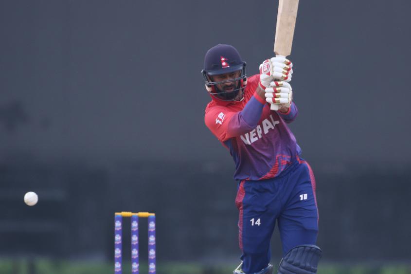 Binod Bhandari plays a shot