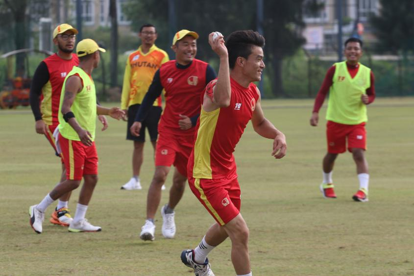 Bhutan players plays ahead of their match against China