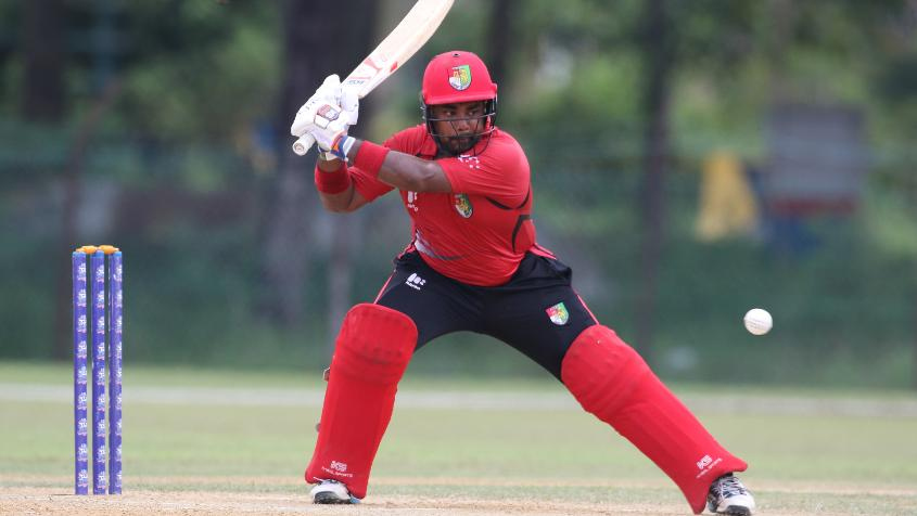 Aritra Dutta of Singapore hit four fours and a six in his 36 runs off 30 balls