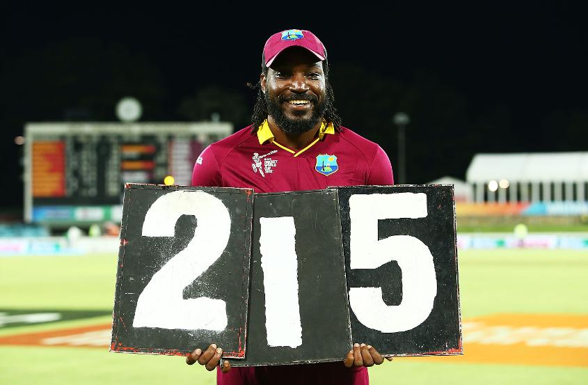 Gayle made his ODI high score of 215 against Zimbabwe at the Cricket World Cup 2015