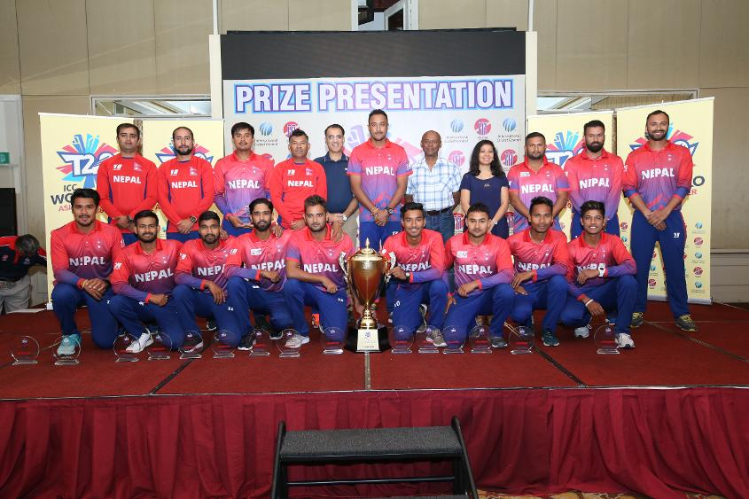 Nepal were presented with the trophy