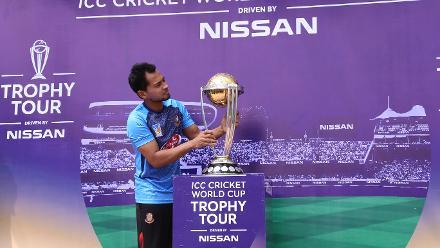 Wicket-keeper batsman Mushfiqur Rahim with the trophy