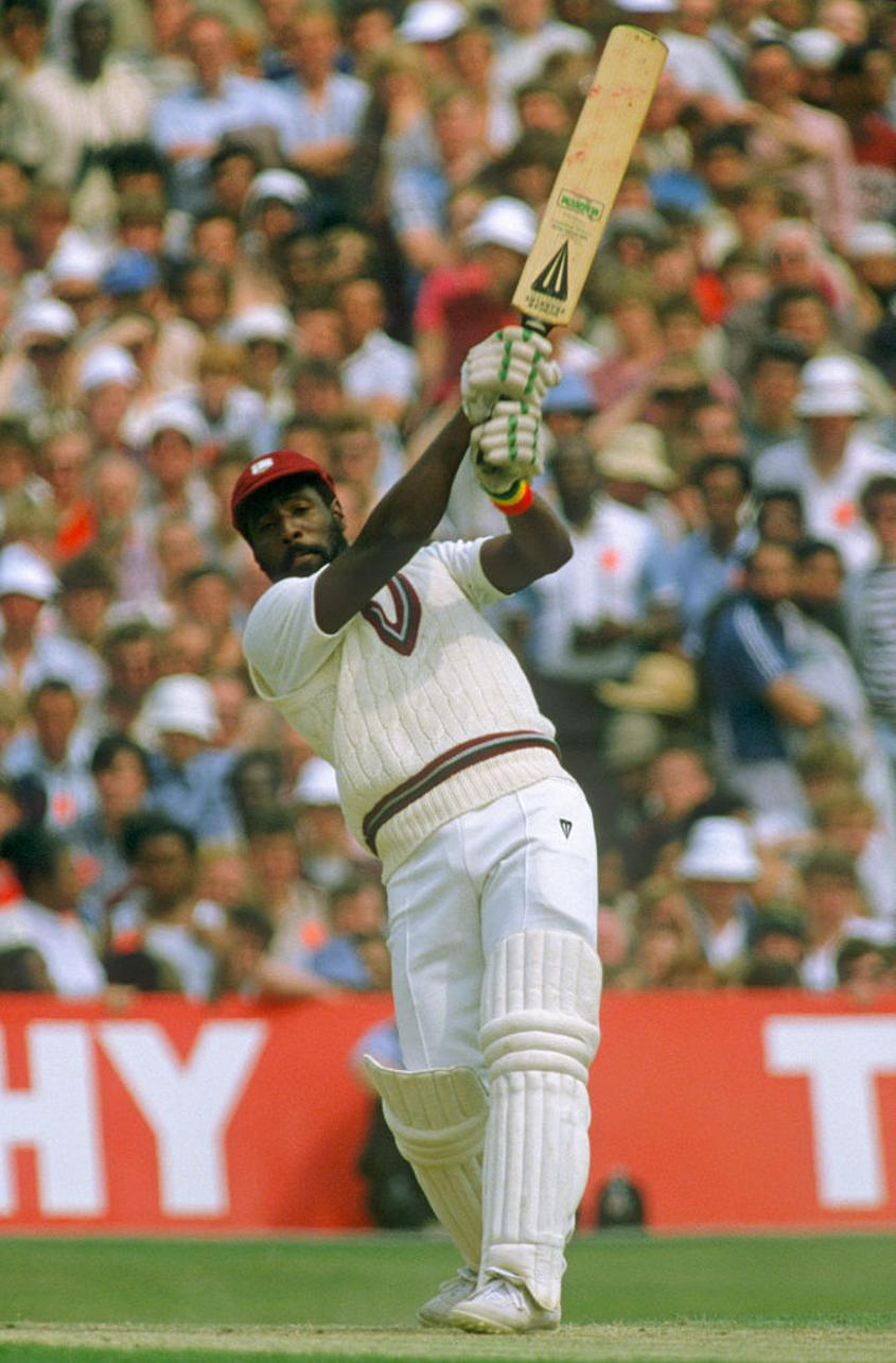 Viv Richards batting during his 189 not out in the first ODI between England and West Indies at Old Trafford, 1984