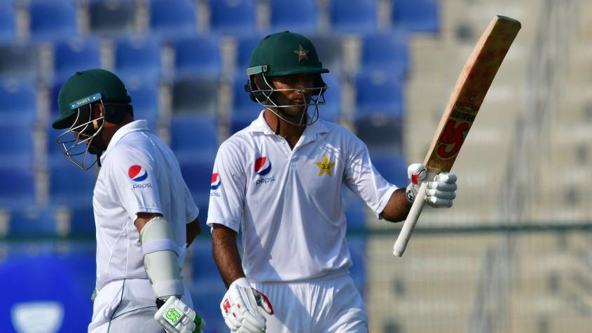 Zaman hit half-centuries in both innings on his Test debut