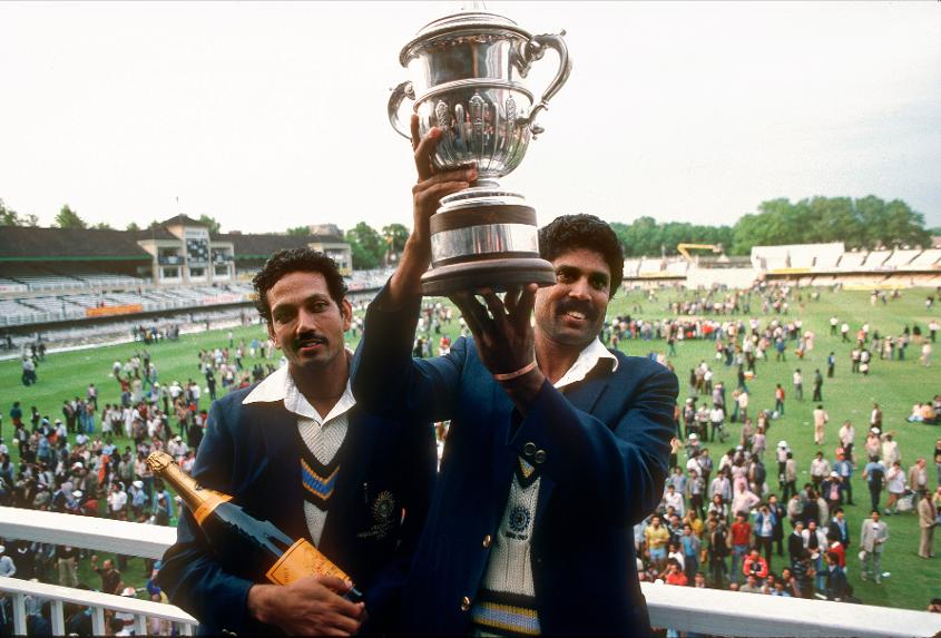 Mohinder Amarnath and Kapil Dev hold the World Cup trophy after India's triumph in 1983