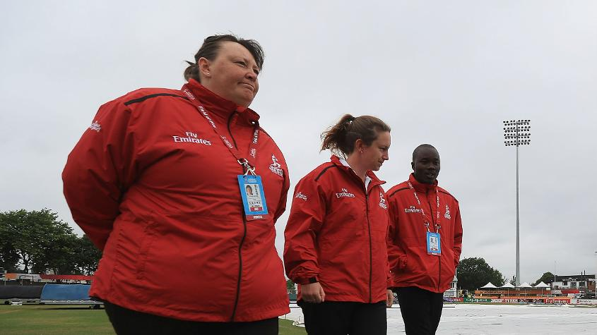 Umpires Sue Redfern, Claire Polosak and Langton Rusere form part of the 14-member officiating team