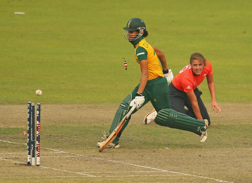 Daniels being run out by Nat Sciver at the ICC World T20 2014 in Bangladesh