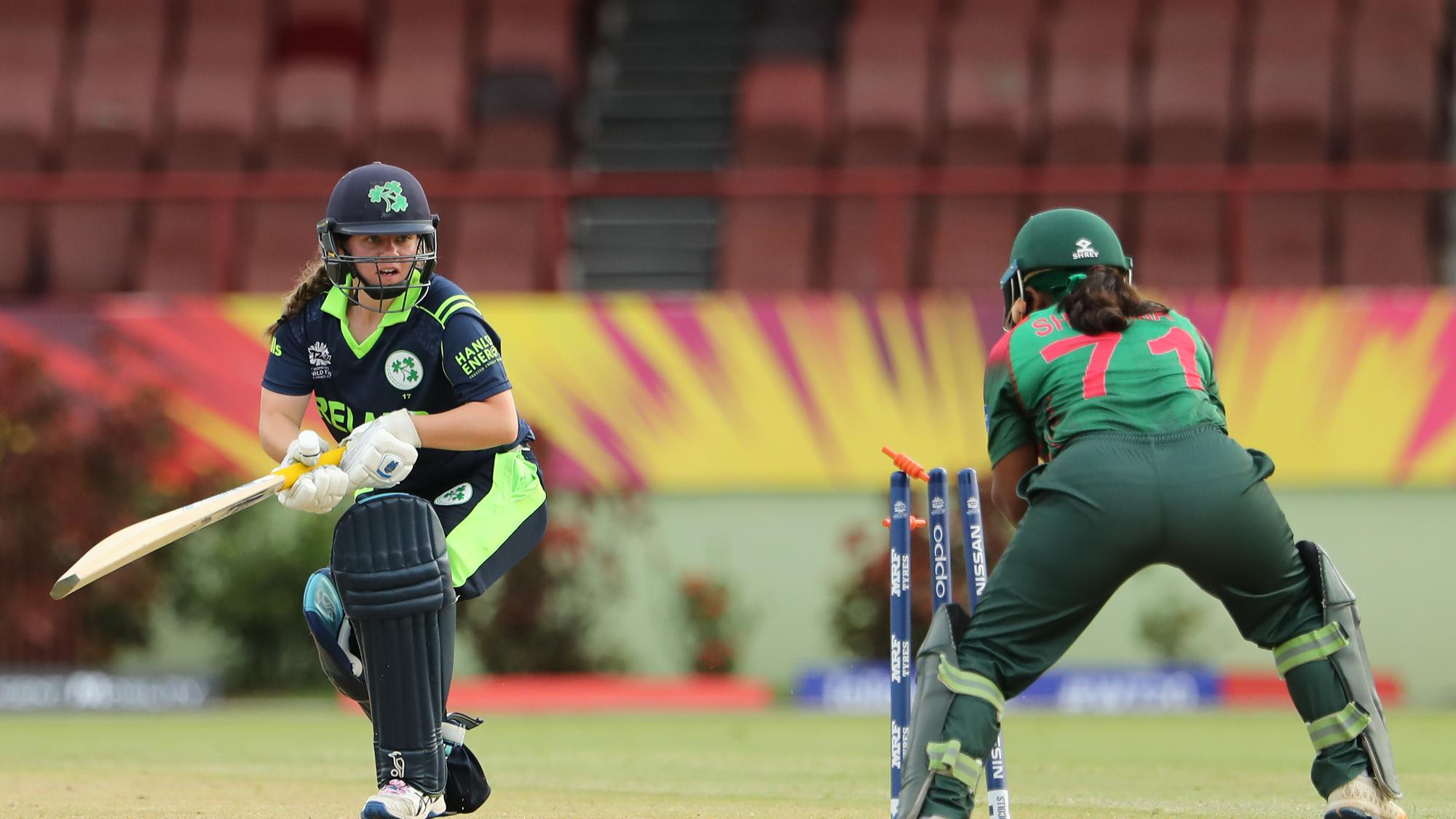 Laura Delany of Ireland is stumped by Shamima Sultana of Bangladesh during the ICC Women's World T20 warm up match between Bangladesh and Ireland on November 4, 2018 at the Guyana National Stadium in Providence, Guyana.