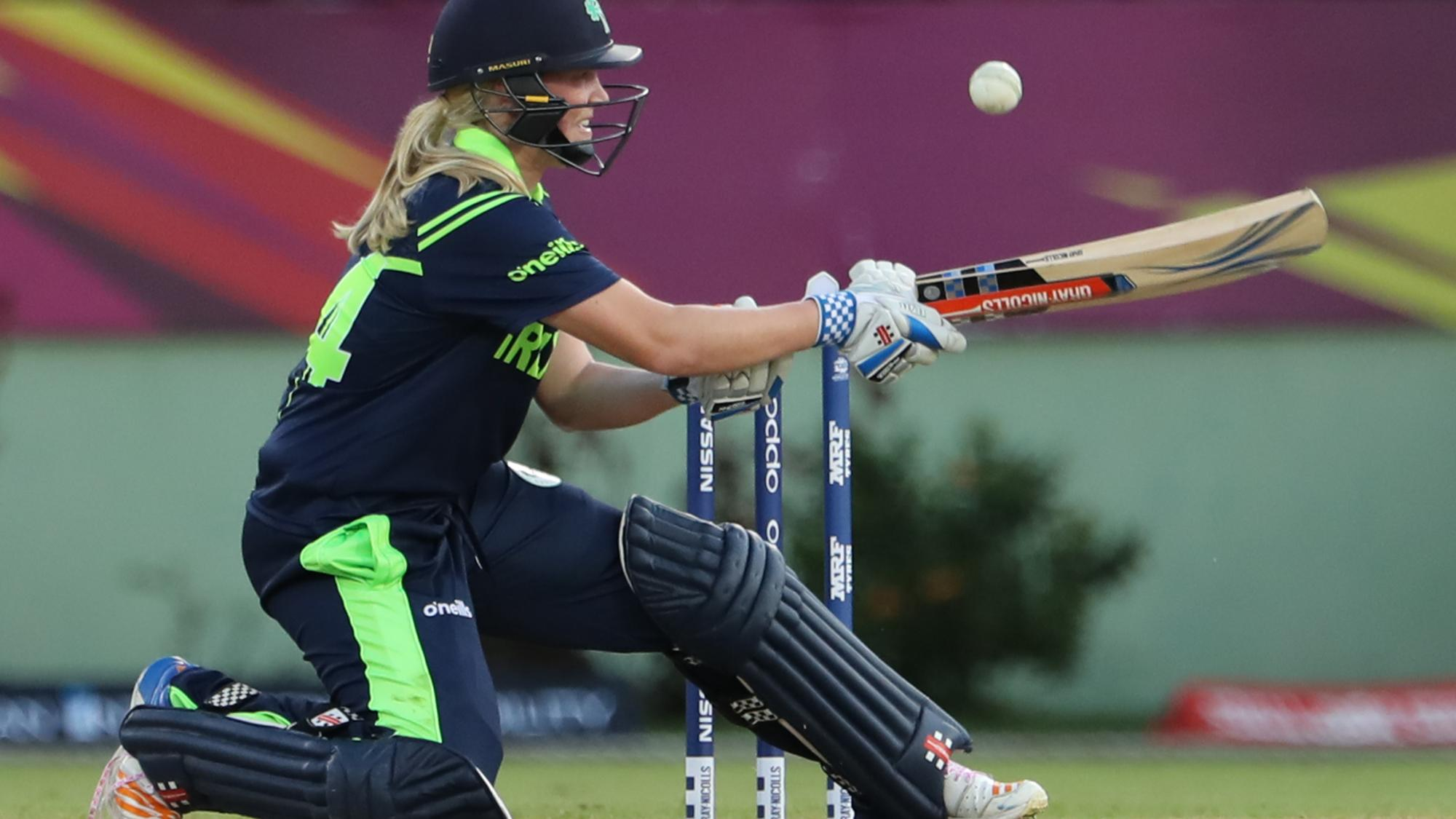 Kim Garth of Ireland plays a paddle-sweep during the ICC Women's World T20 warm up match between Bangladesh and Ireland on November 4, 2018 at the Guyana National Stadium in Providence, Guyana.