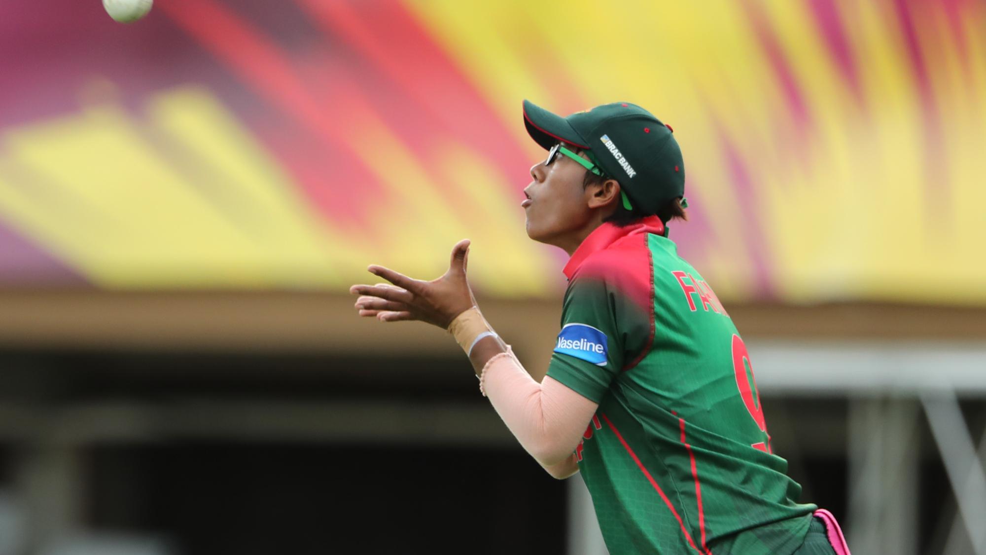 Fahima Khatun of Bangladesh settles under a catch during the ICC Women's World T20 warm up match between Bangladesh and Ireland on November 4, 2018 at the Guyana National Stadium in Providence, Guyana.