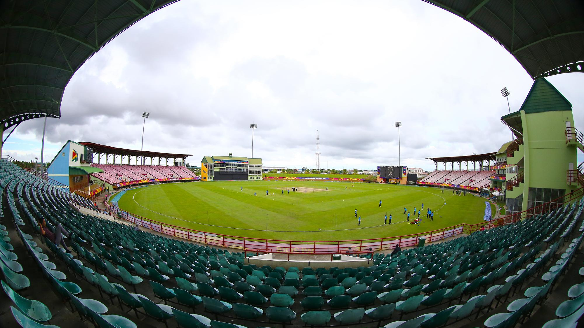A general view of the Guyana National Stadium during the ICC Women's World T20 warm up match between Bangladesh and Ireland on November 4, 2018 in Providence, Guyana.