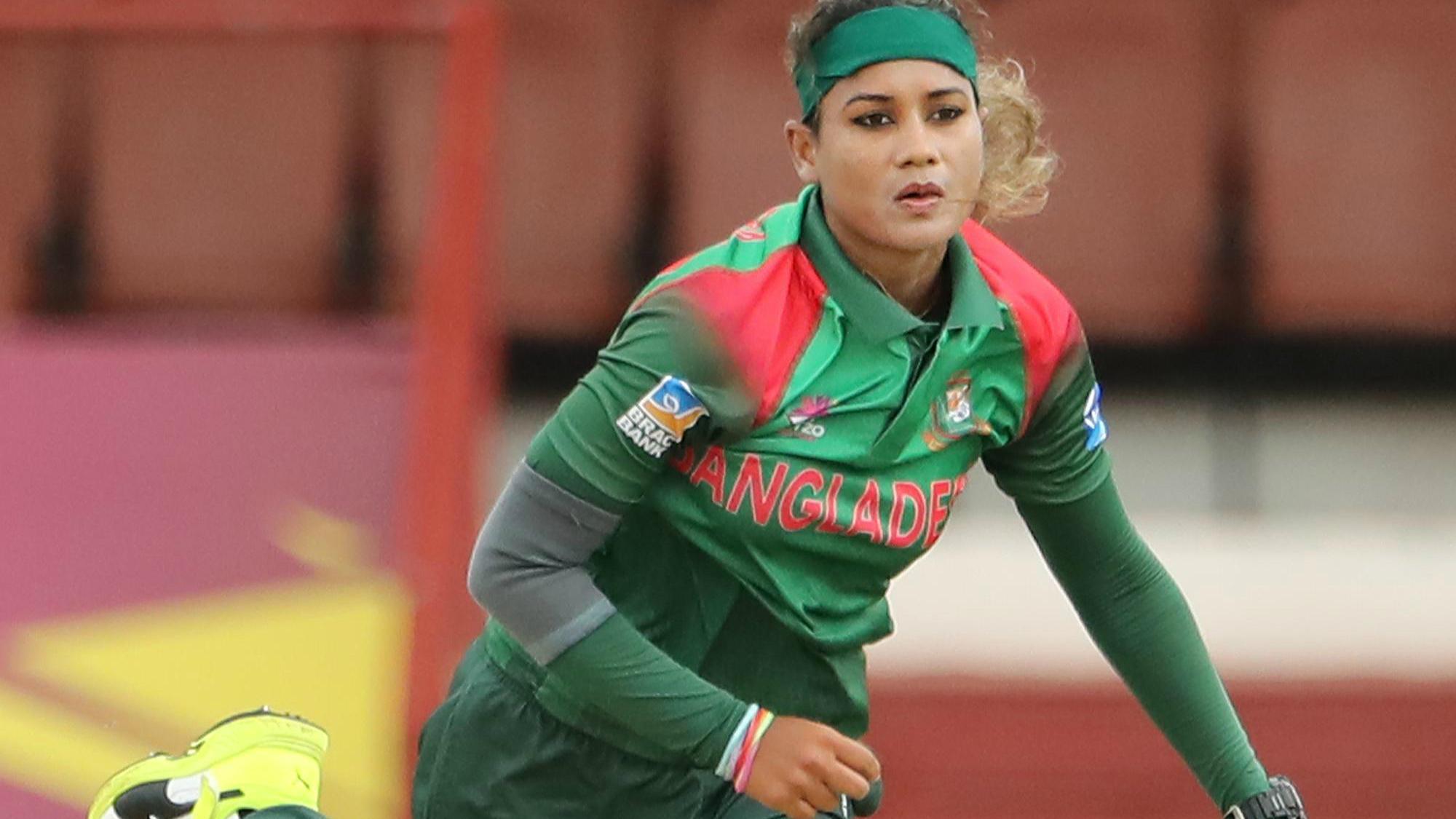Jahanara Alam of Bangladesh bowls during the ICC Women's World T20 warm up match between Bangladesh and Ireland on November 4, 2018 at the Guyana National Stadium in Providence, Guyana.