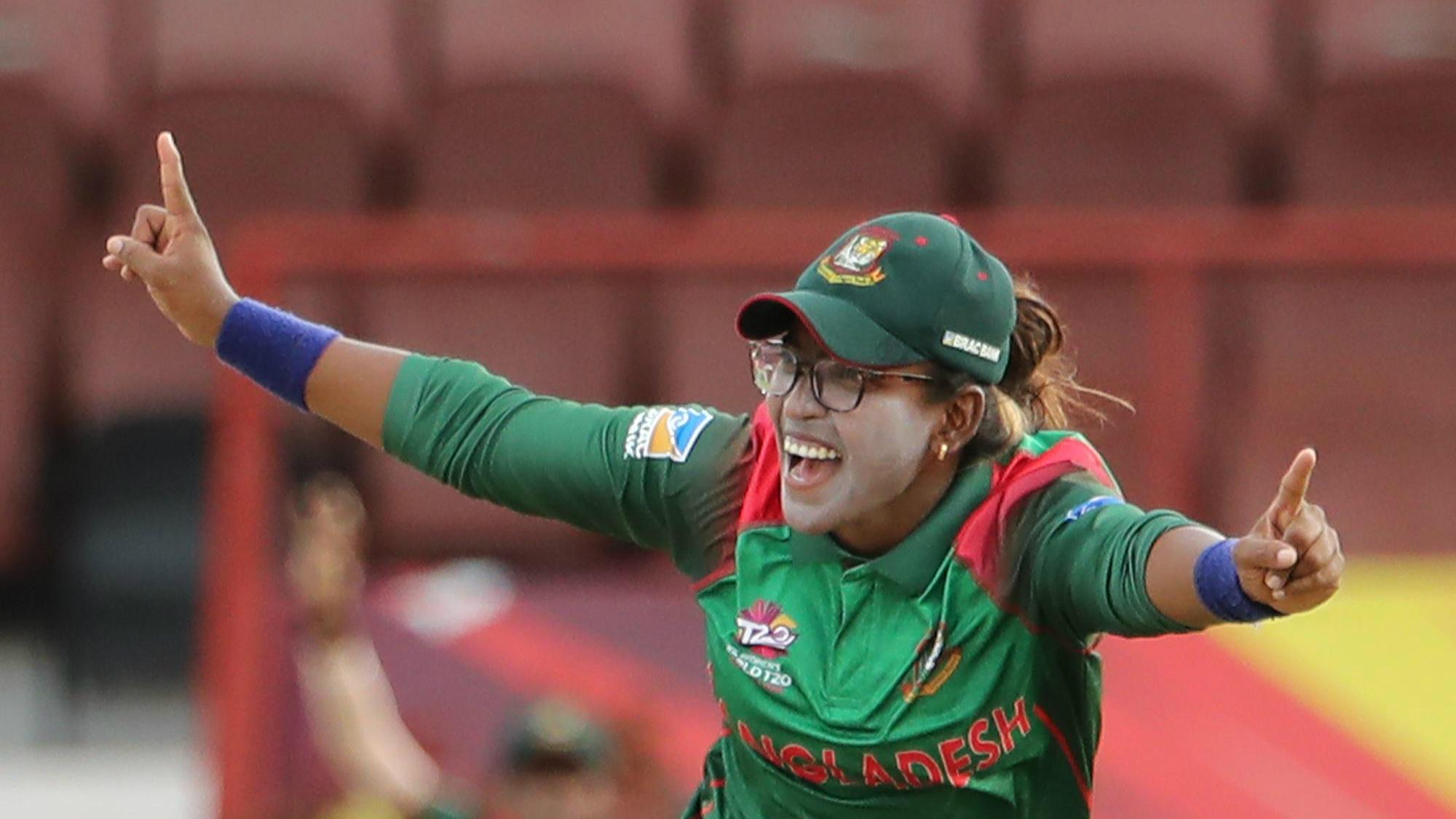 Rumana Ahmed of Bangladesh celebrates during the ICC Women's World T20 warm up match between Bangladesh and Ireland on November 4, 2018 at the Guyana National Stadium in Providence, Guyana.