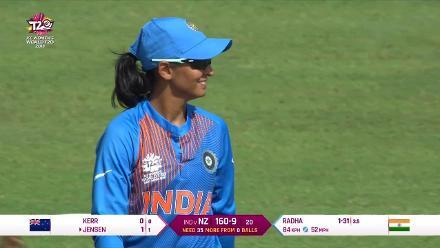 NZ v IND: Radha Yadav has Hayley Jensen stumped