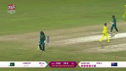 Aus v Pak: Aliya Riaz caught behind for 1