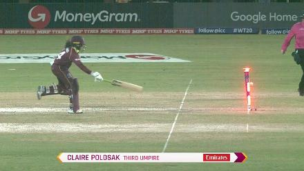 WT20 Match 3: Anisa Mohammed is run out against Bangladesh