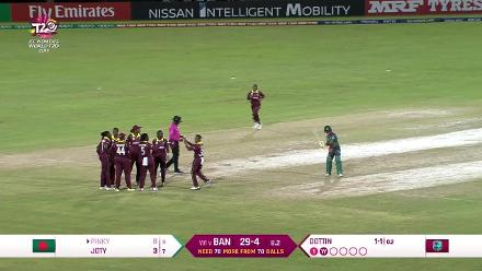 WT20 Match 3: Fargana Hoque Pinky is caught and bowled by Deandra Dottin